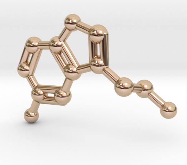 Serotonin Molekül Anhänger 14k Rotgold
