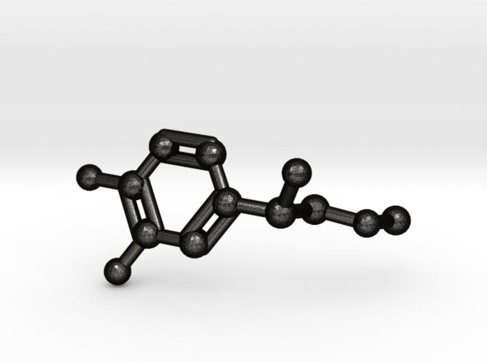 Adrenalin Molekül Schlüsselanhänger mattschwarzer Stahl