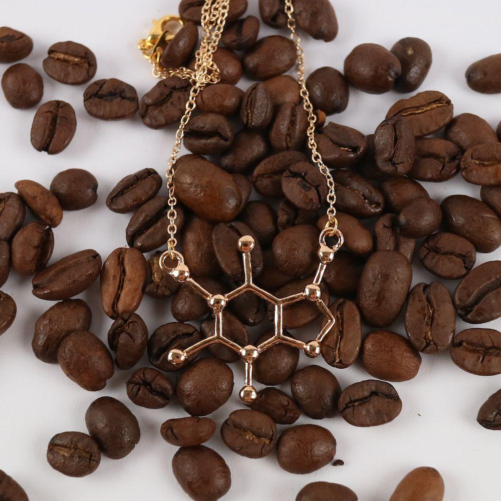 Koffein Molekül Anhänger Gold