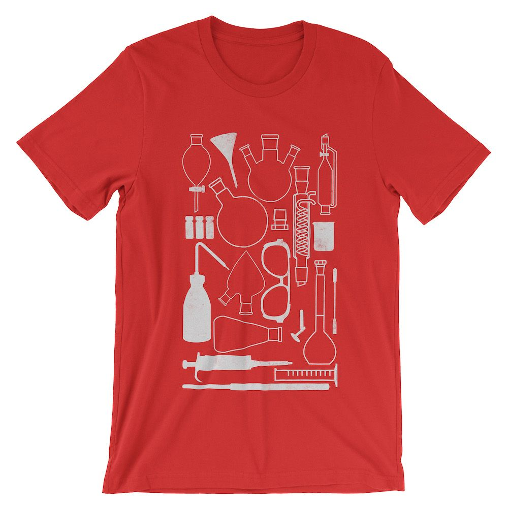 Laborgeräte-T-Shirt-Red-3001