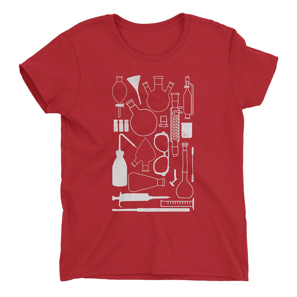 Laborgeräte-T-Shirt-Red-880
