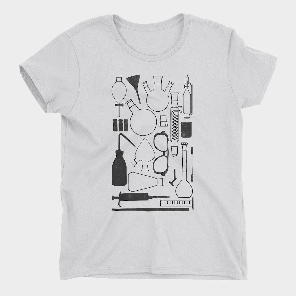 Laborgeräte-T-Shirt-White