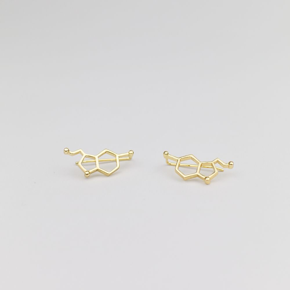 Serotonin Molekül Ohr Kletterer Ohrring Gold