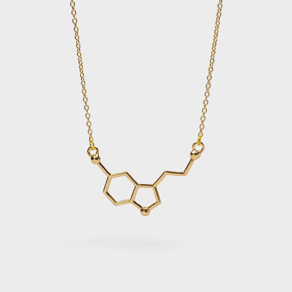 Serotonin Molekül Anhänger Gold