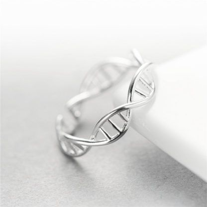 DNA Doppel Helix Ring Sterling Silber 925