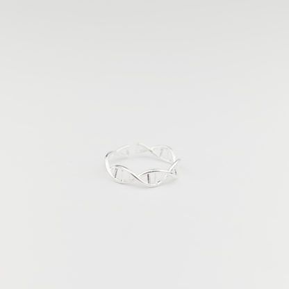 DNA Ring Sterling Silber 925 Verstellbar