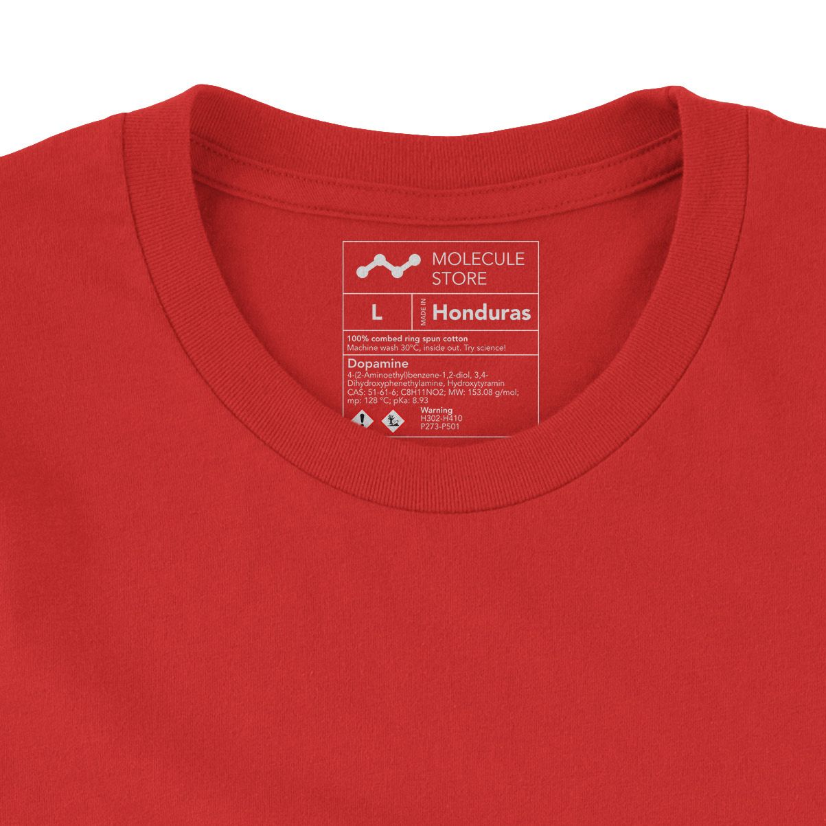 Dopamine Molecule T-Shirt Red 3001 Label