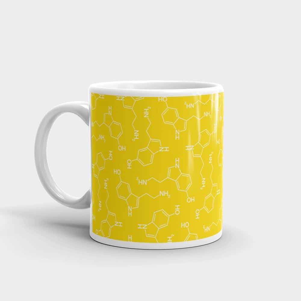 Lots of Serotonin Molecule Mug Left