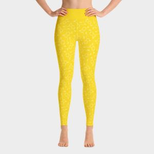 Yoga Leggings Lots of Serotonin Molecules Yellow Front