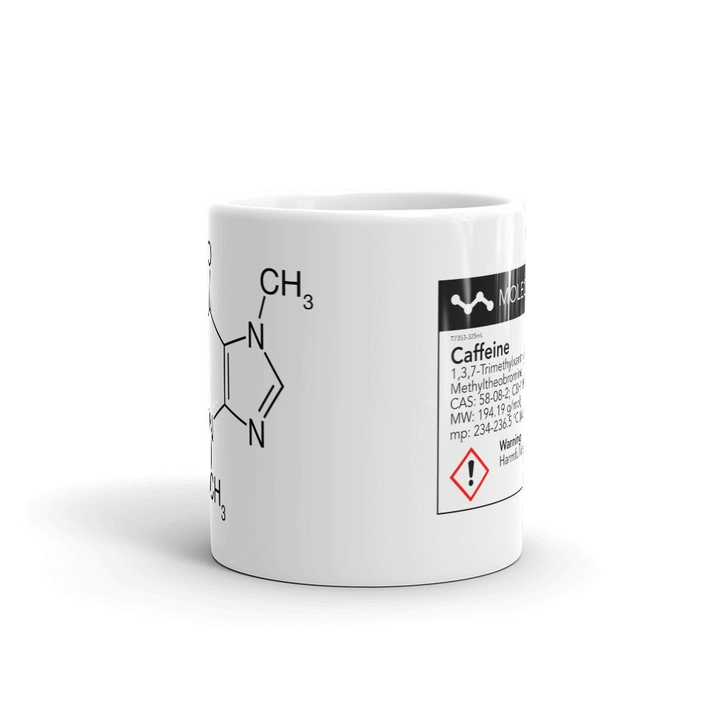 Caffeine White Mug Front View 11oz