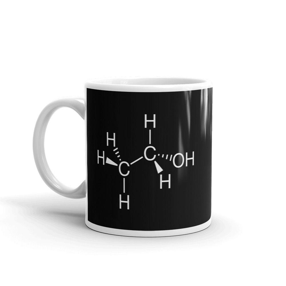 Ethanol Molecule Black Mug 11oz Handle on Left