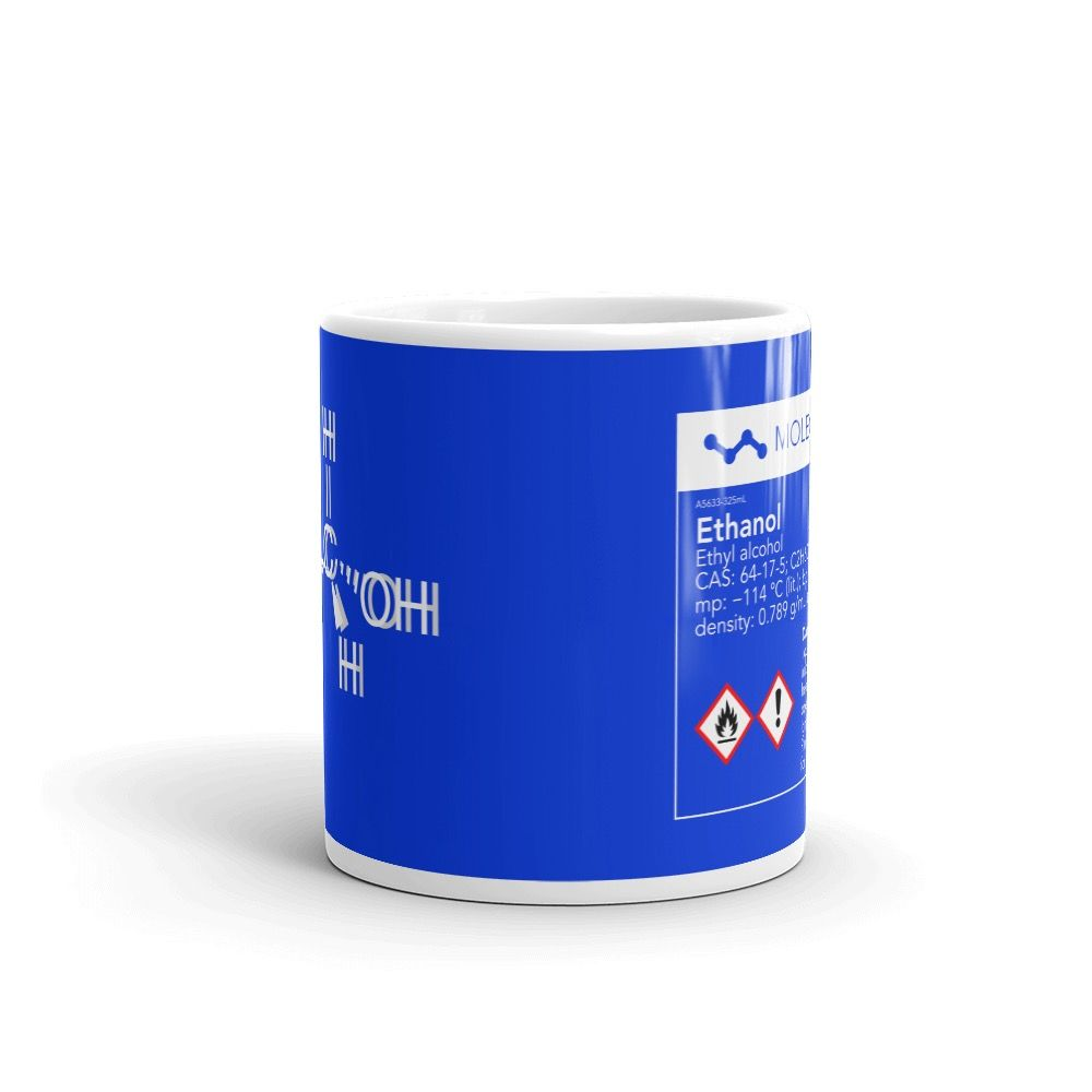 Ethanol Molecule Intoxicated Blue Mug 11oz Front View