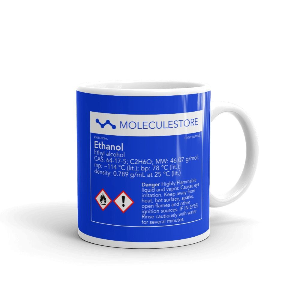 Ethanol Molecule Intoxicated Blue Mug 11oz Handle on Right