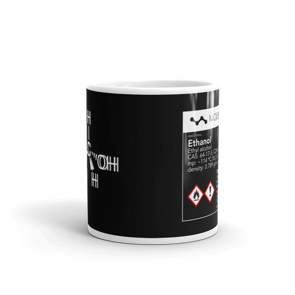 Ethanol Molecule Intoxicated Black Mug 11oz Front View
