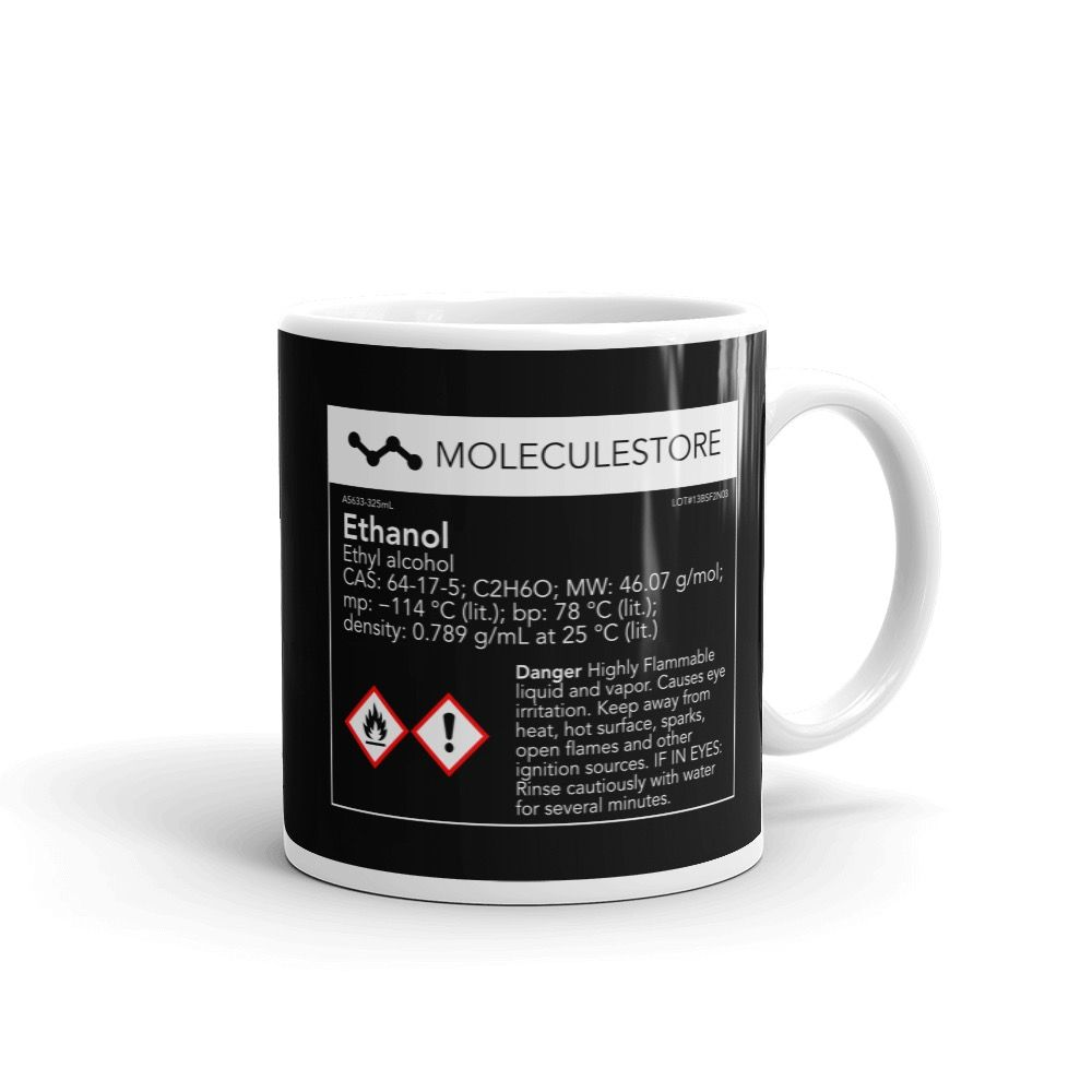 Ethanol Molecule Intoxicated Black Mug 11oz Handle on Right