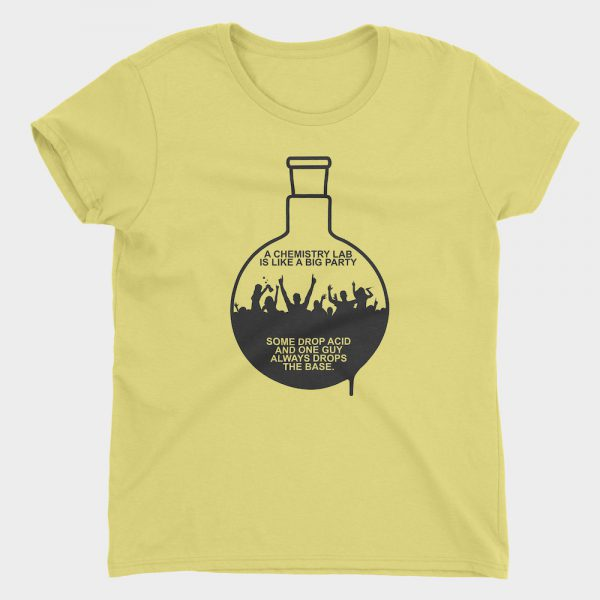 Lab Party Flask T-Shirt Ladies Yellow