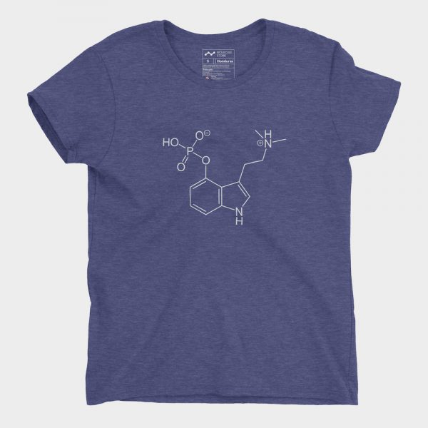 Psilocybin Molecule T-Shirt Ladies Heather Blue