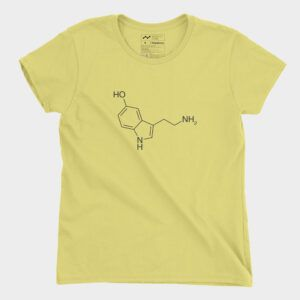 Serotonin Molecule T-Shirt Ladies Yellow