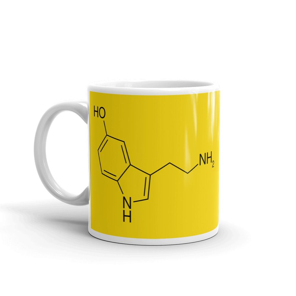 Serotonin Yellow Mug Handle on Left