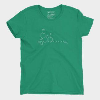 THC Molecule T-Shirt Ladies Kelly Green