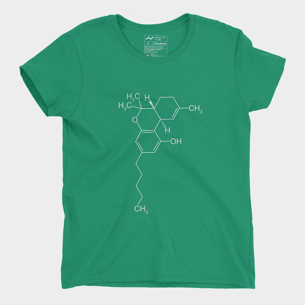 THC Molecule T-Shirt Ladies Kelly Green