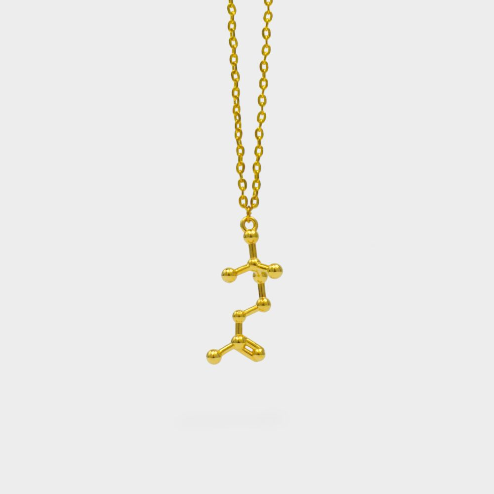 Acetylcholine Molecule Necklace 3D Gold