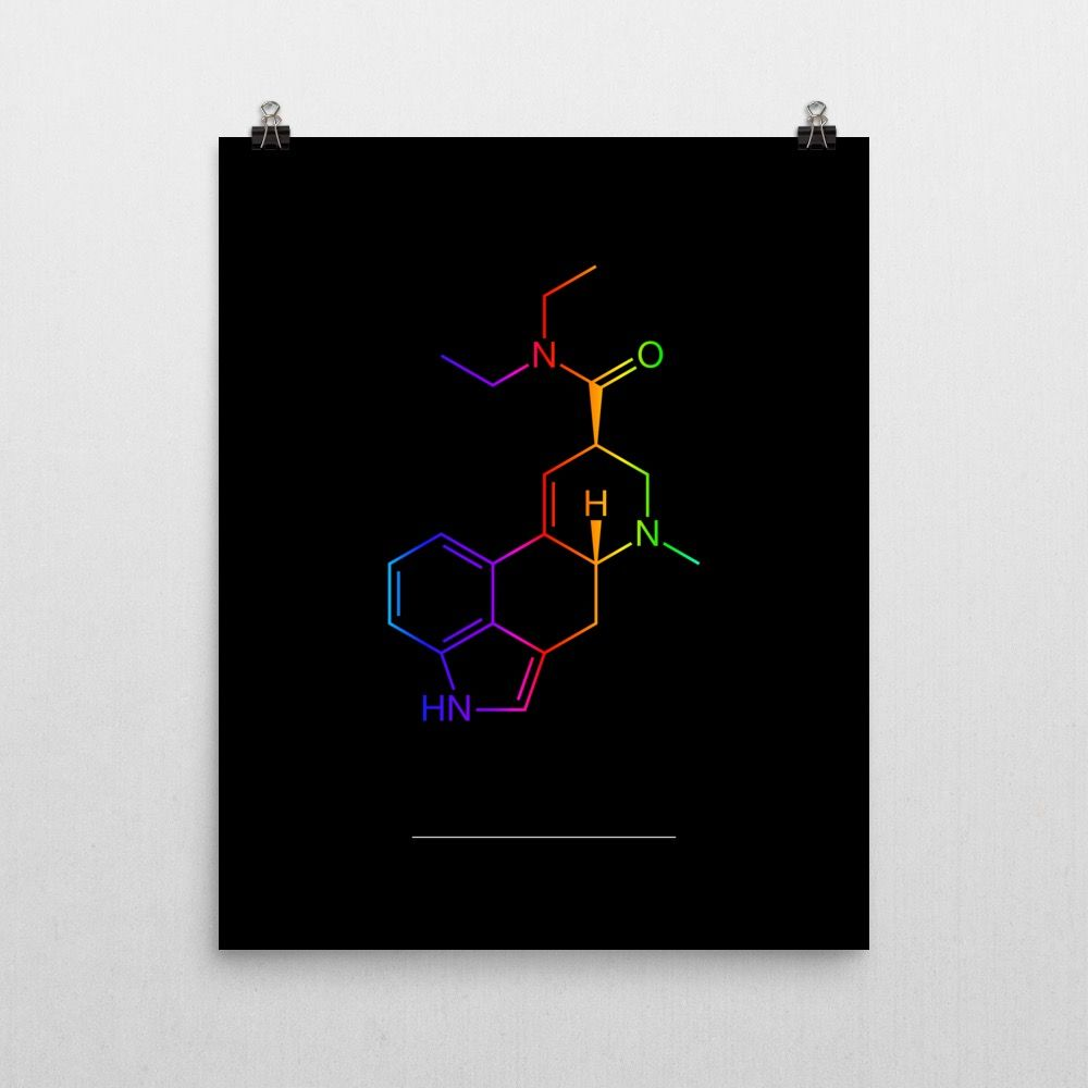 Colorful LSD Molecule Poster 16x20