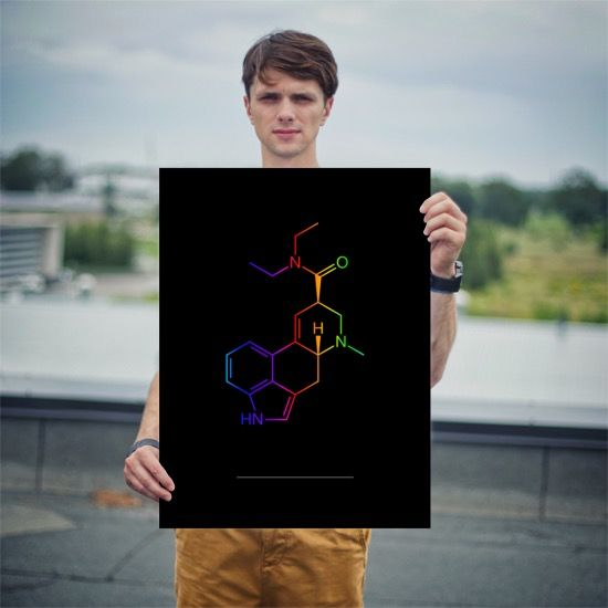 Colorful LSD Molecule Poster 18x24 Person