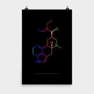 LSD Molecule Colorful Poster 24×36