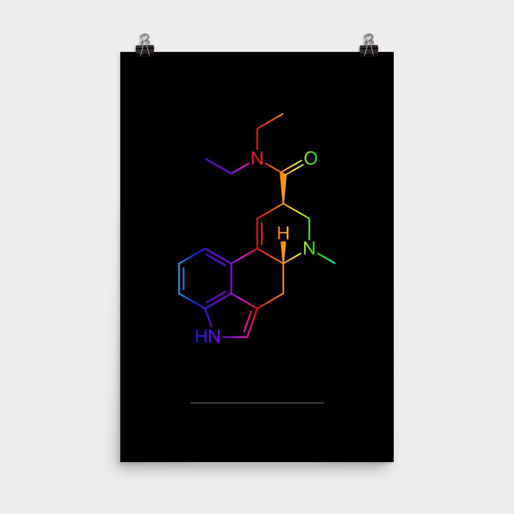LSD Molecule Colorful Poster 24x36