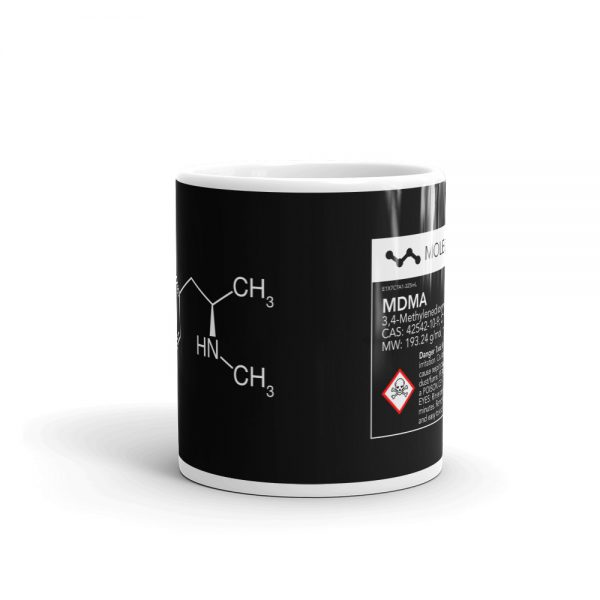 MDMA Molecule Black Mug Center
