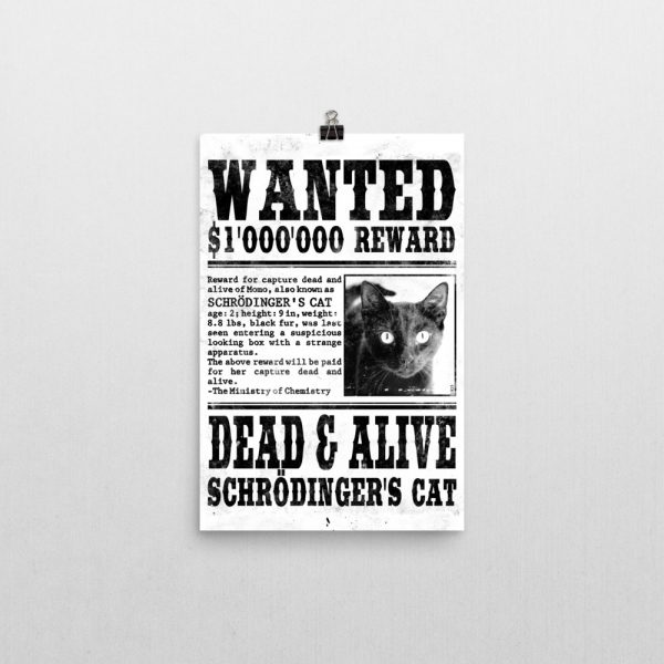 Schrödinger's Cat Wanted Poster 12x18