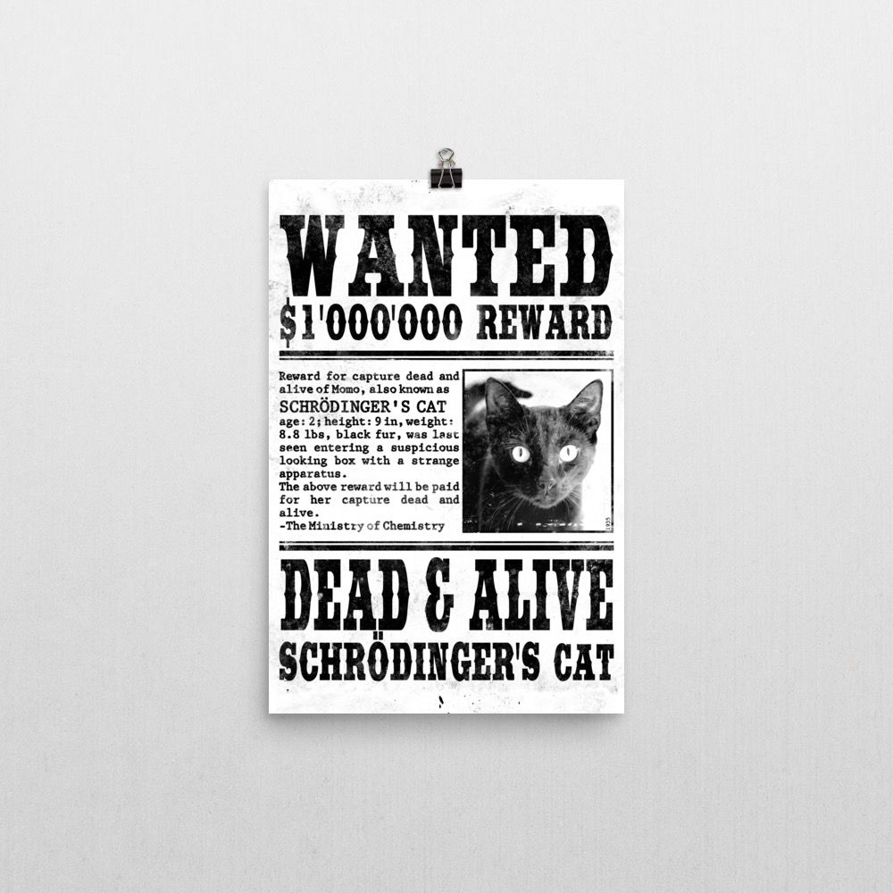 Schrödinger's Cat Wanted Poster 12x18