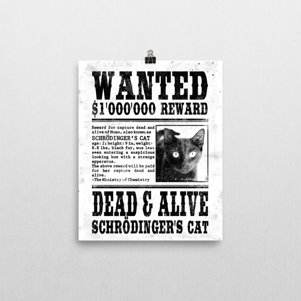 Schrödinger's Cat Wanted Poster 8x10