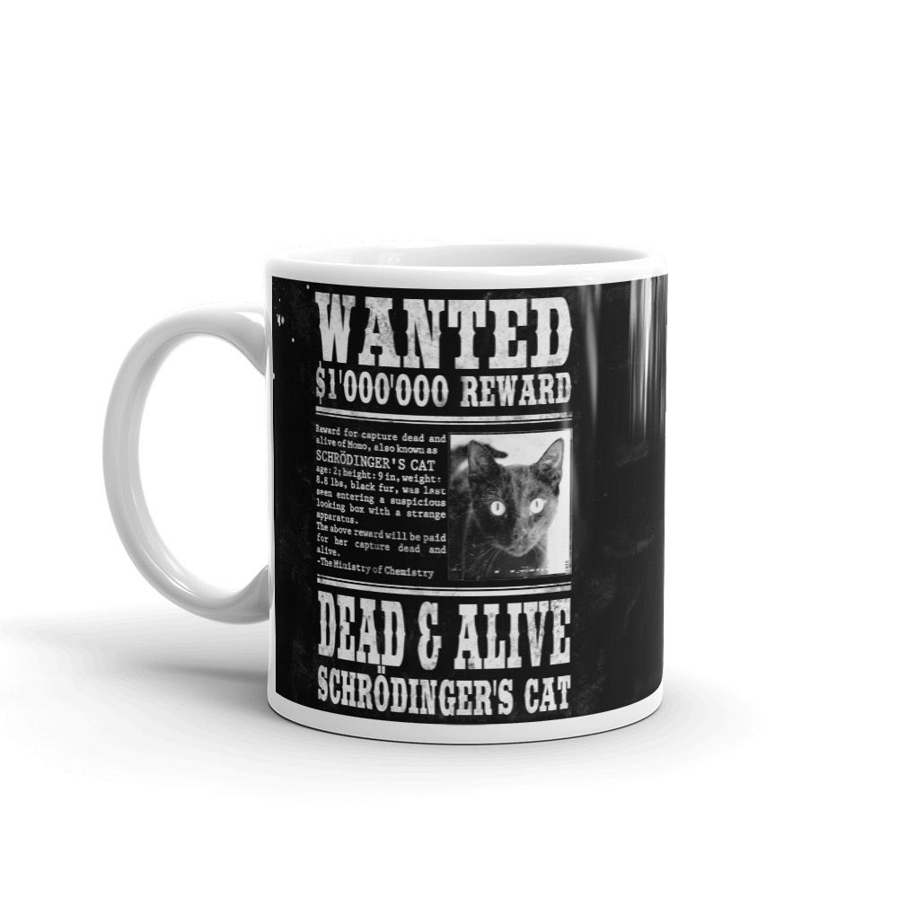 Schrödinger's Cat Wanted Mug Black Left