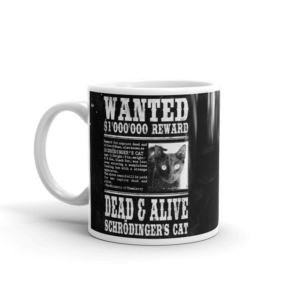 Schrödinger's Cat Wanted Mug Black Left