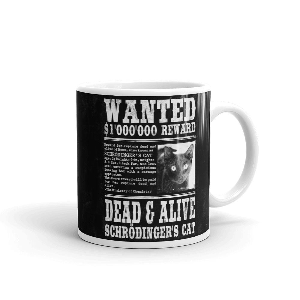 Schrödinger's Cat Wanted Mug Black Right