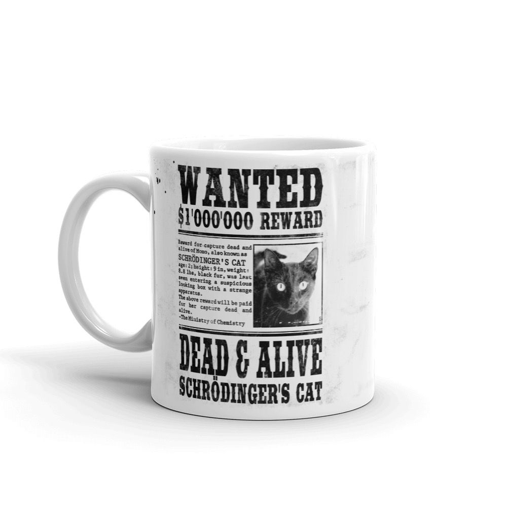 Schrödinger's Cat Wanted Mug White Left