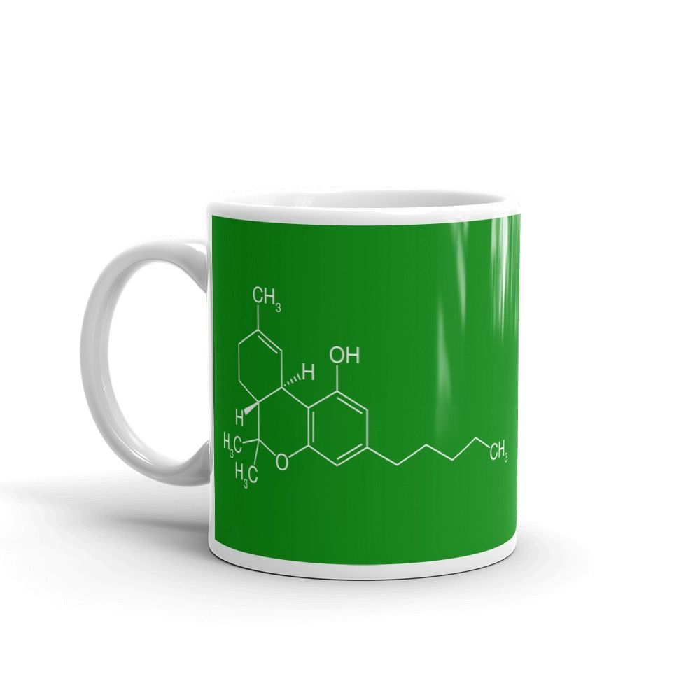 THC Molecule Mug Green Left