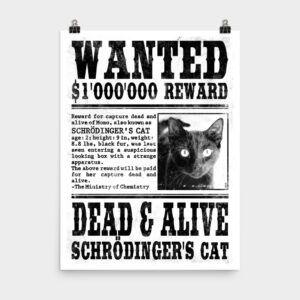 Wanted Schrödingers Cat Poster 18×24