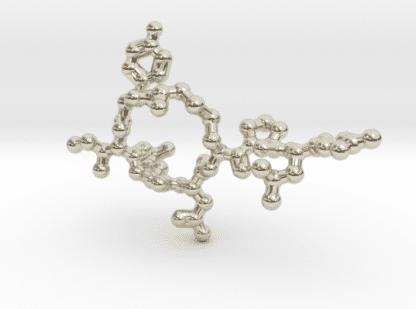 Oxytocin Molecule Necklace 14k White Gold