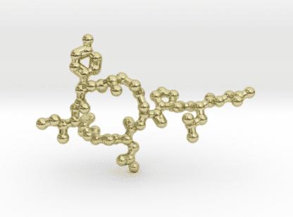 Oxytocin Molecule Necklace 18k Gold