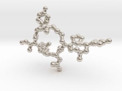 Oxytocin Molecule Necklace Rhodium Plated