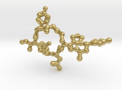 Oxytocin Molecule Necklace Raw Brass