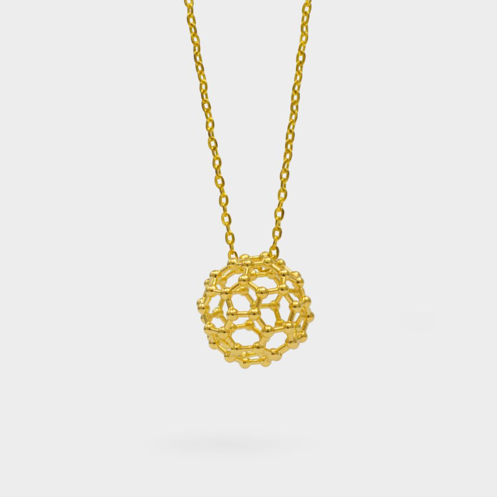 C60 Buckyball Molecule Necklace 3D Gold