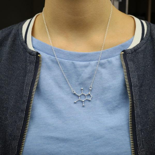 Caffeine Molecule Necklace Silver Model