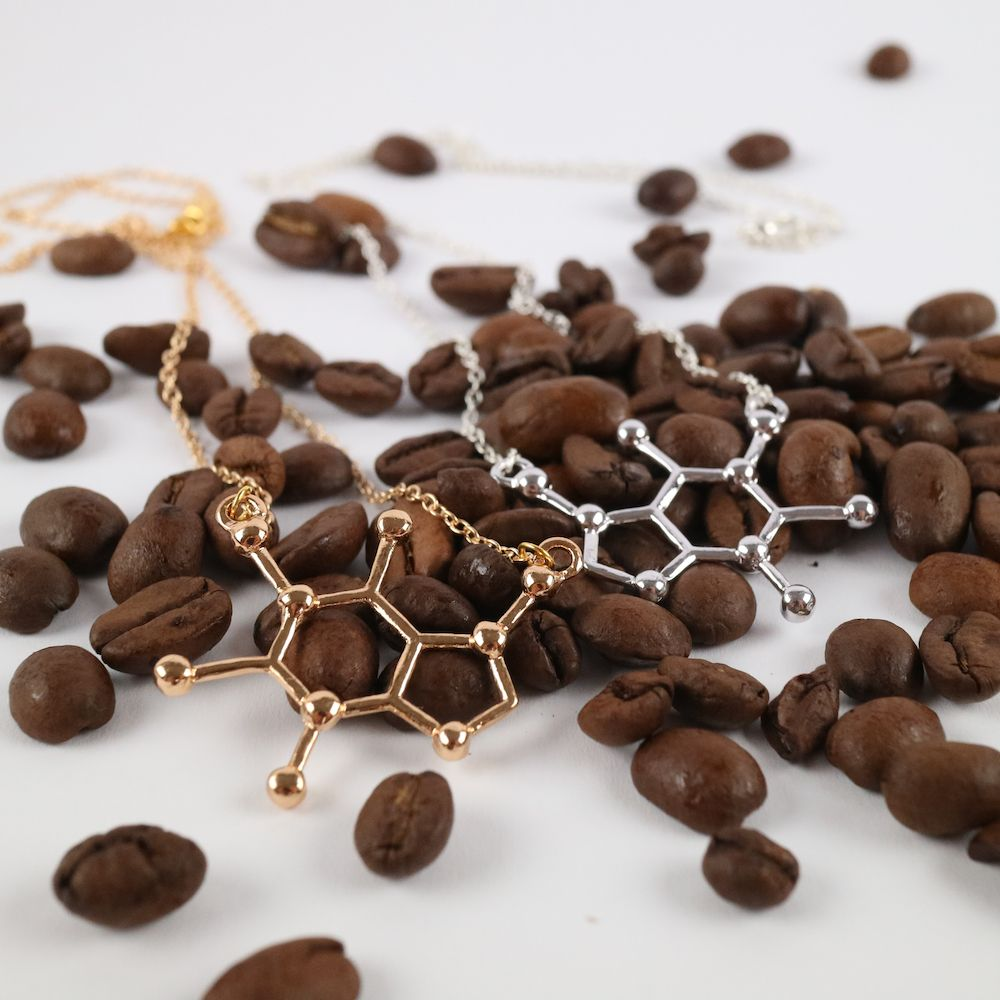 Caffeine Molecule Necklaces with Coffee Beans