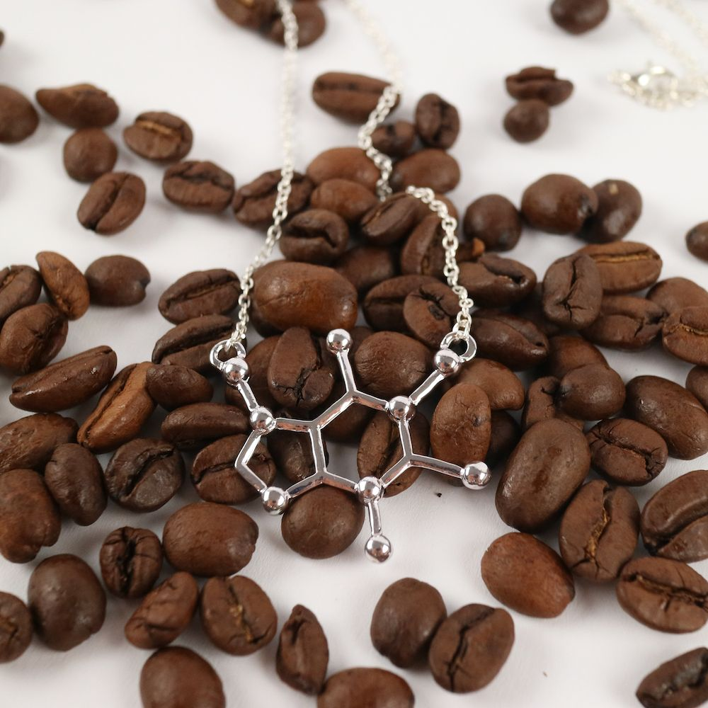 Caffeine Necklace Silver with Coffee Beans
