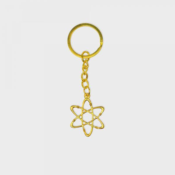 Carbon Atom Keychain Gold