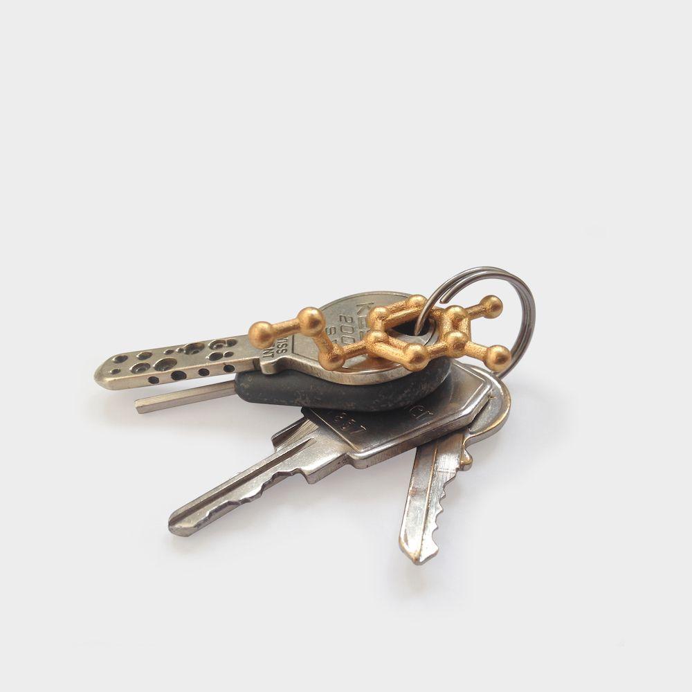 Dopamine Molecule Keychain Gold Steel